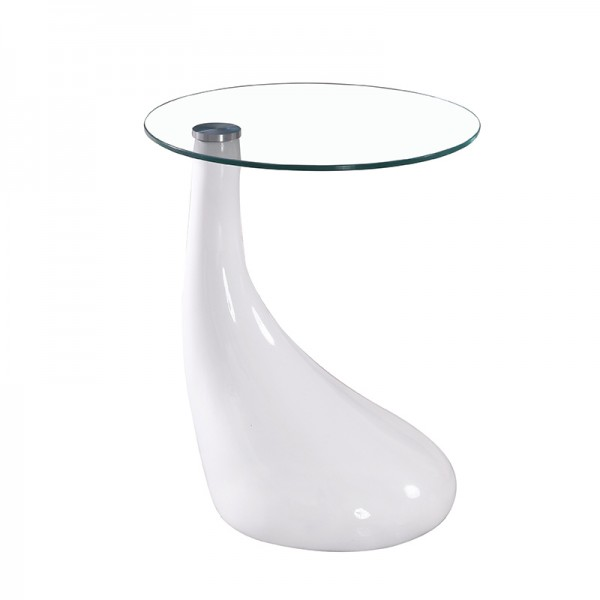 "Tempered Glass top Coffee Table Dia 18*21.5""H . 8mm clear glass.fiberglass in high gloss finishing White color Base1pc / 2 Box"