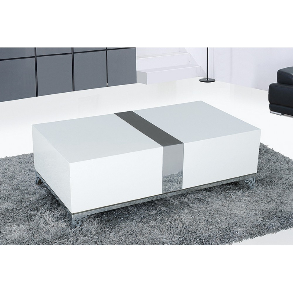 "Extended Coffee Table 43.5*24*15""H.MDF in heigh gloss wite with Grey line  finish Stainless steel Legs. Extended1pc / 2 Box"