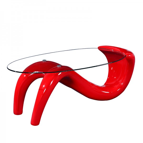 "Tempered Glass top Coffee Table 47.5*26*17""H . 8mm clear glass.fiberglass in high gloss finishing Red color Base1pc / 2 Box"