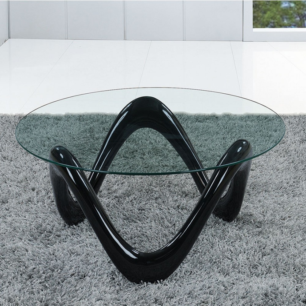 "Tempered Glass top Coffee Table Dia 36""*17.5""H . 8mm clear glass.fiberglass in high gloss finishing black color Base1pc / 2 Box"