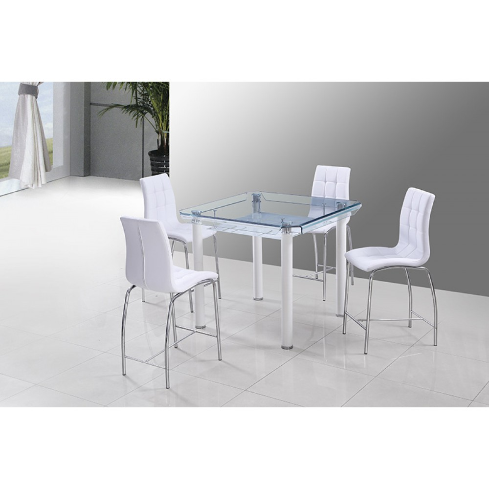 12 mm hot bend glass pub table 43.5*43.5*36.2H white 1pc / 2 ctn
