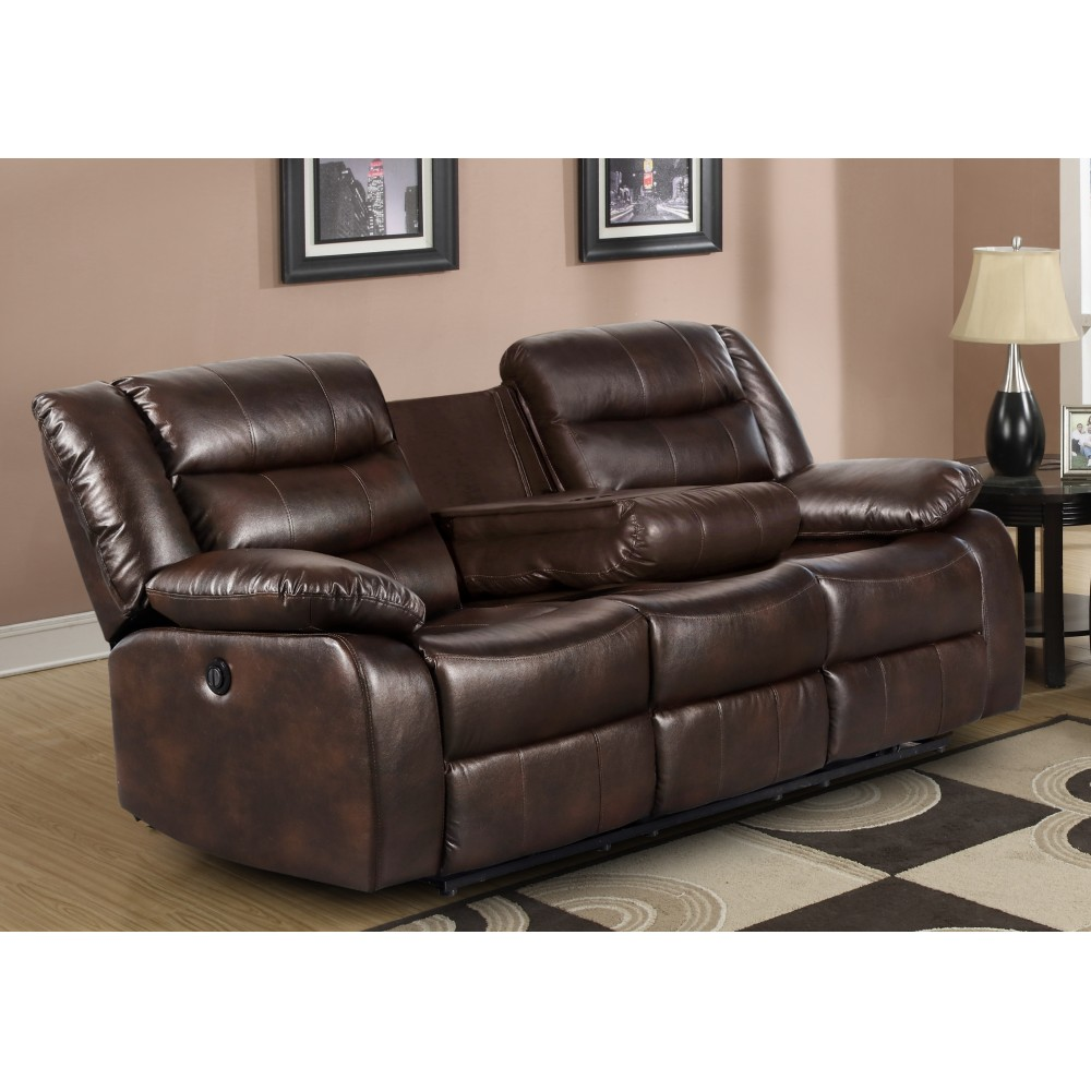 Strange Recliner Sofa With Drop Down Table P U Leather Brown Color Gmtry Best Dining Table And Chair Ideas Images Gmtryco