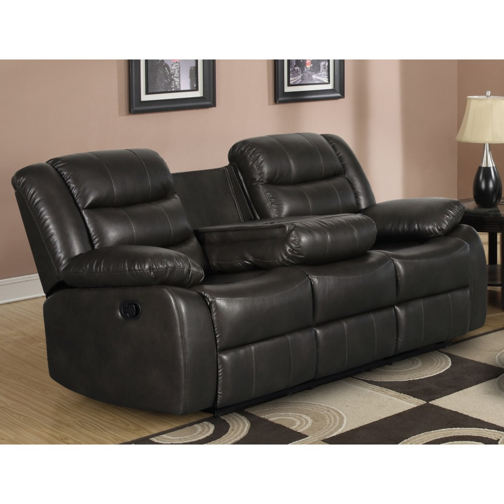 Recliner Sofa with drop-down table .P U Leather Dark Grey ...