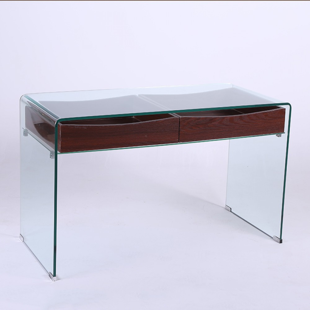Hot Bend 12mm Glass Desk with two Drawers48*22*28.5 2pcs / 1 Box