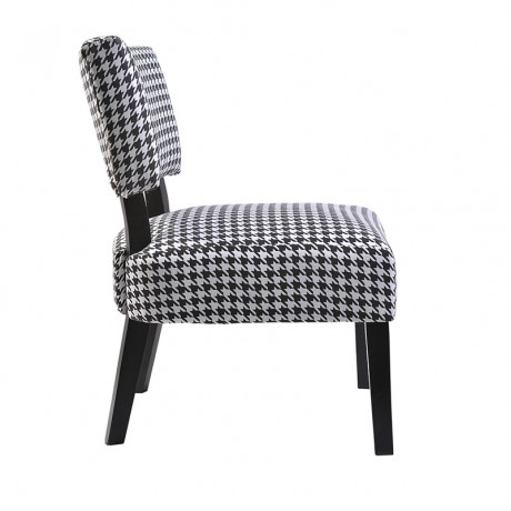 "Accent  ChairBlack / White  PRINT Fabric.Wood legs KD back.22.5 W*24.5 D*30.7""H2 / CTN"