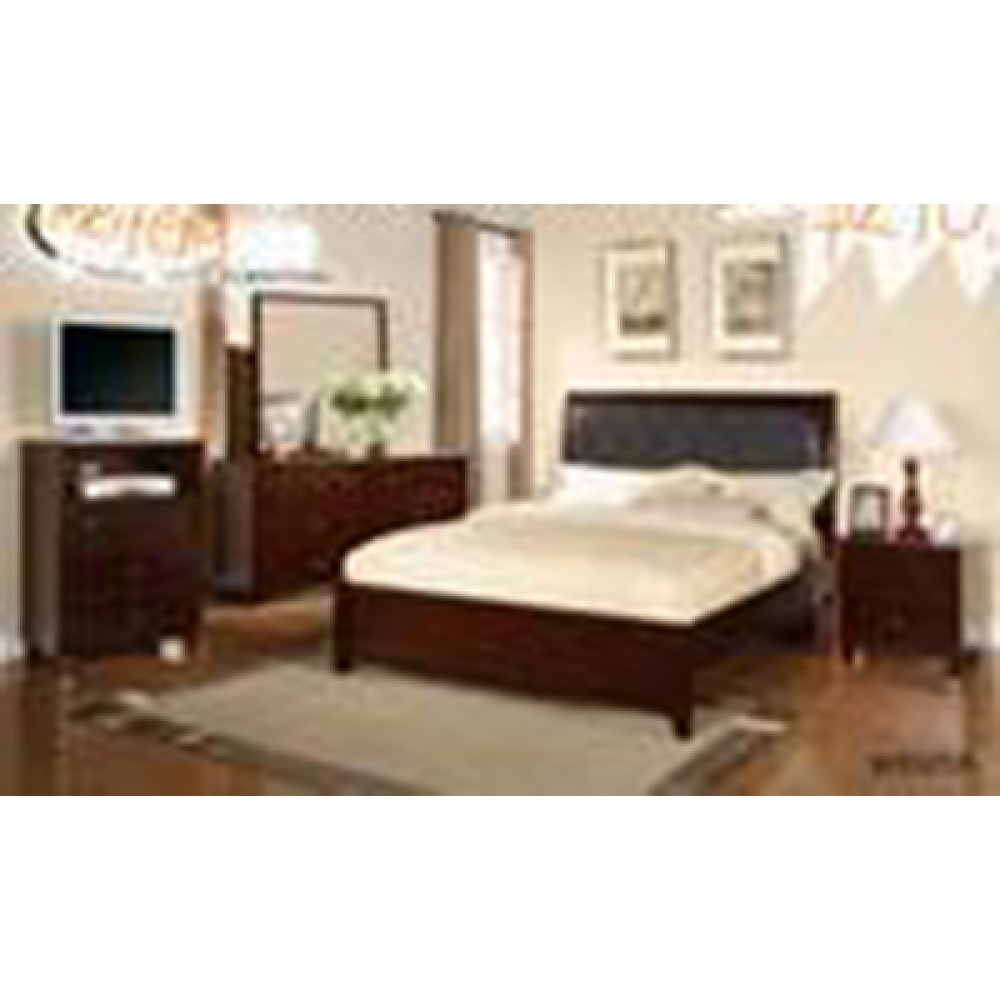 4 Pcs CAL Bed Dresser Mirror Nightstand..Espresso