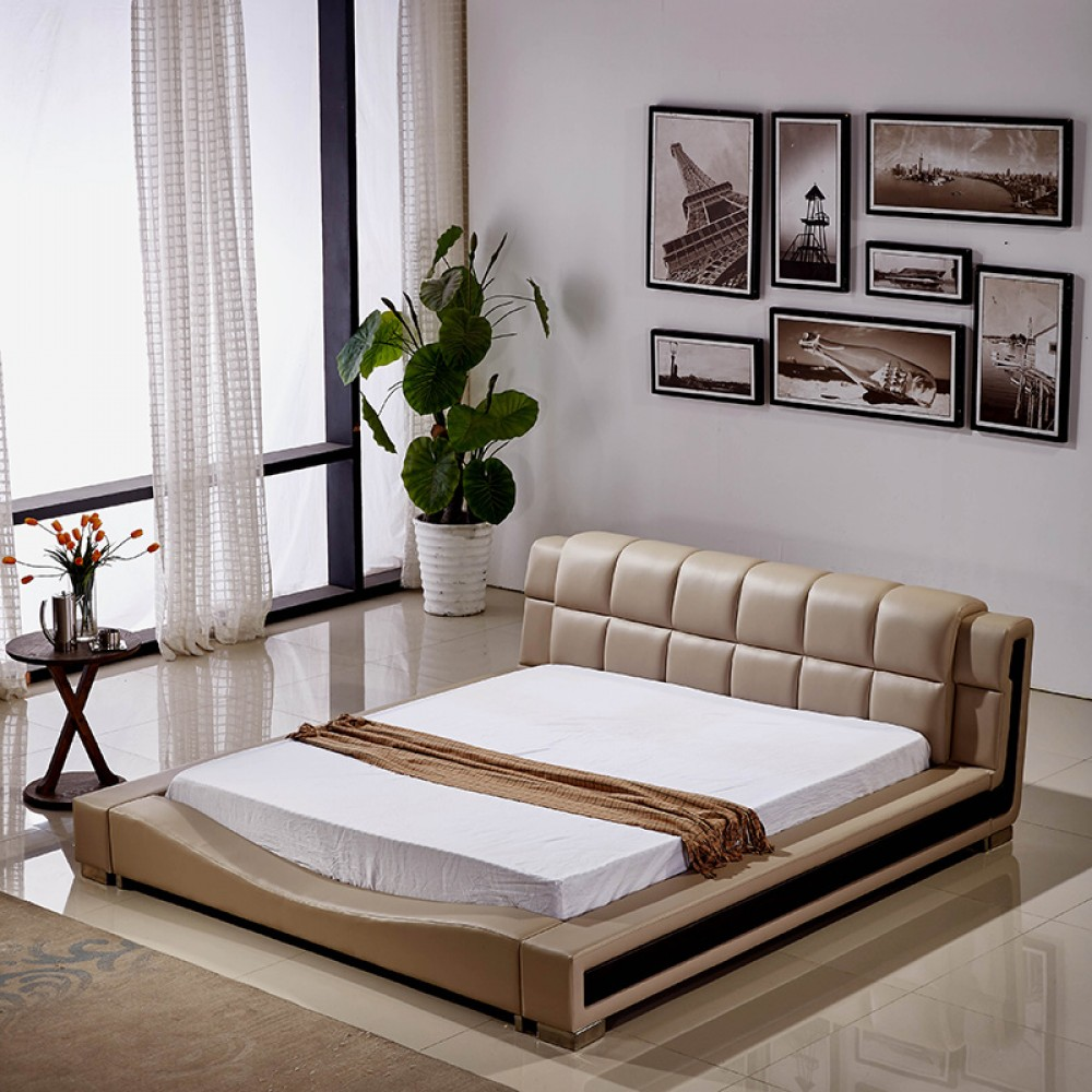 "PU Leather platform Bed , Grey color.Queen 69*99.61*35.5""H,2 bosx"