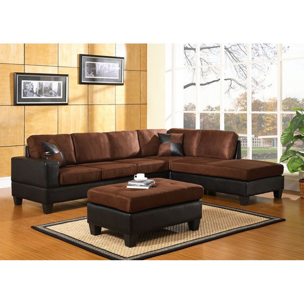 Brilliant 4 Piece Sectional With Ottoman Chocolate Brown 3 Box Pabps2019 Chair Design Images Pabps2019Com