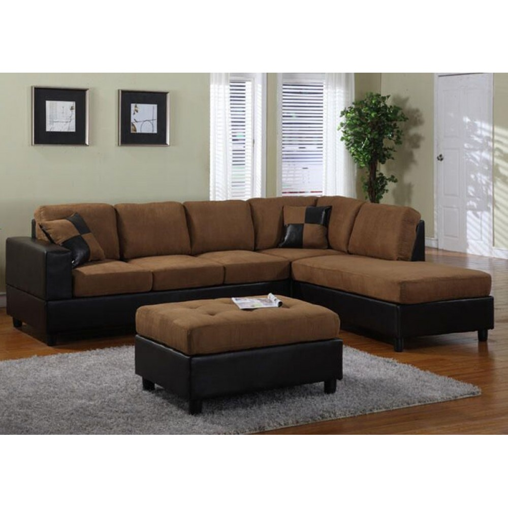Awesome 4 Piece Sectional With Ottoman Saddle Brown 3 Box Facing Right Pabps2019 Chair Design Images Pabps2019Com