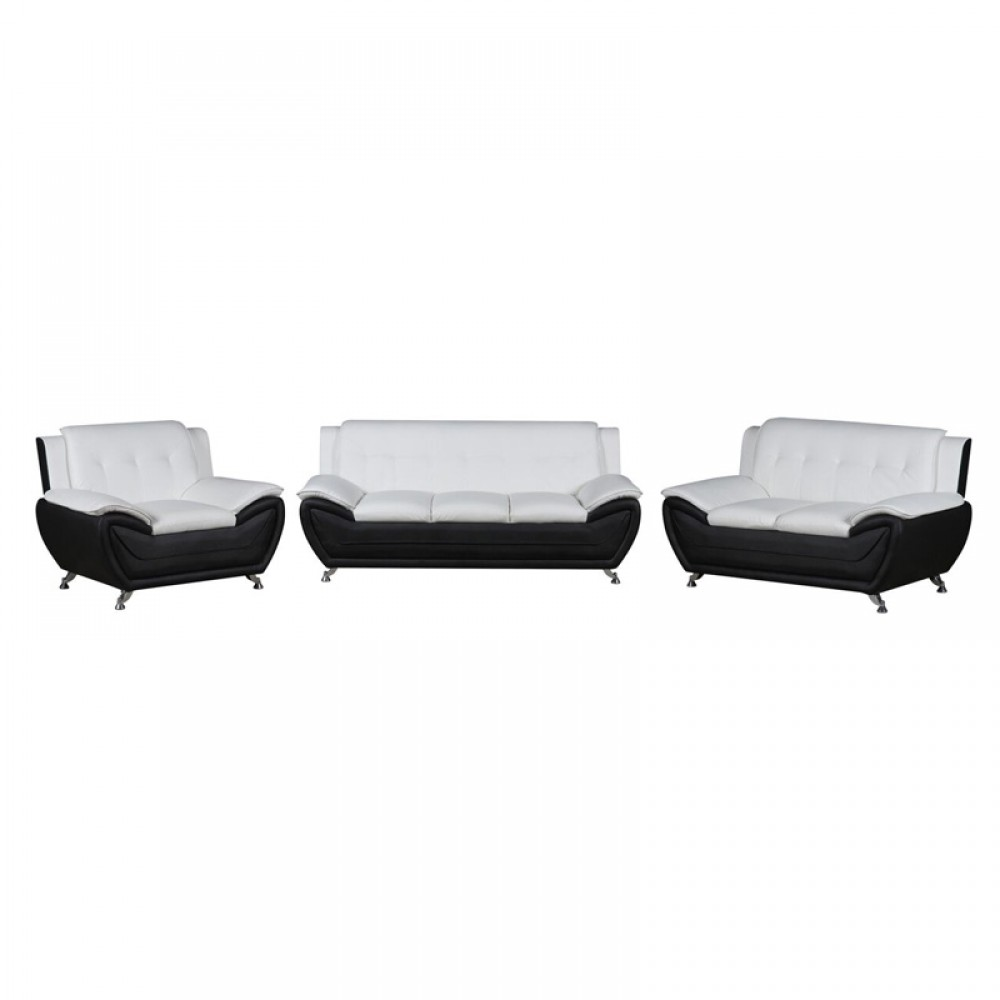 Stupendous Tufted Sofa Modern Style Pu Leather White Black Color Evergreenethics Interior Chair Design Evergreenethicsorg