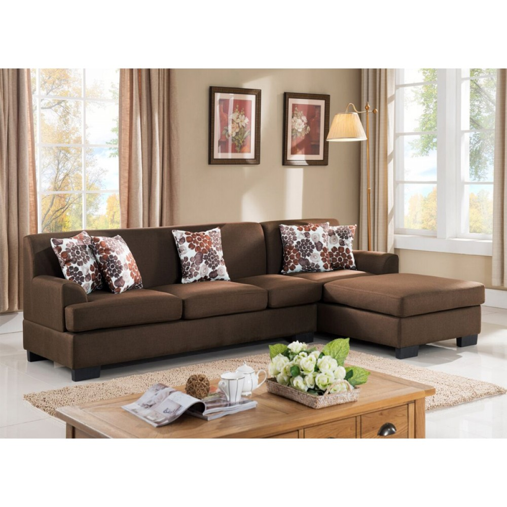 Incredible 2 Pcs Sectional Sofa Set Brown Color Linen Fabric Ocoug Best Dining Table And Chair Ideas Images Ocougorg