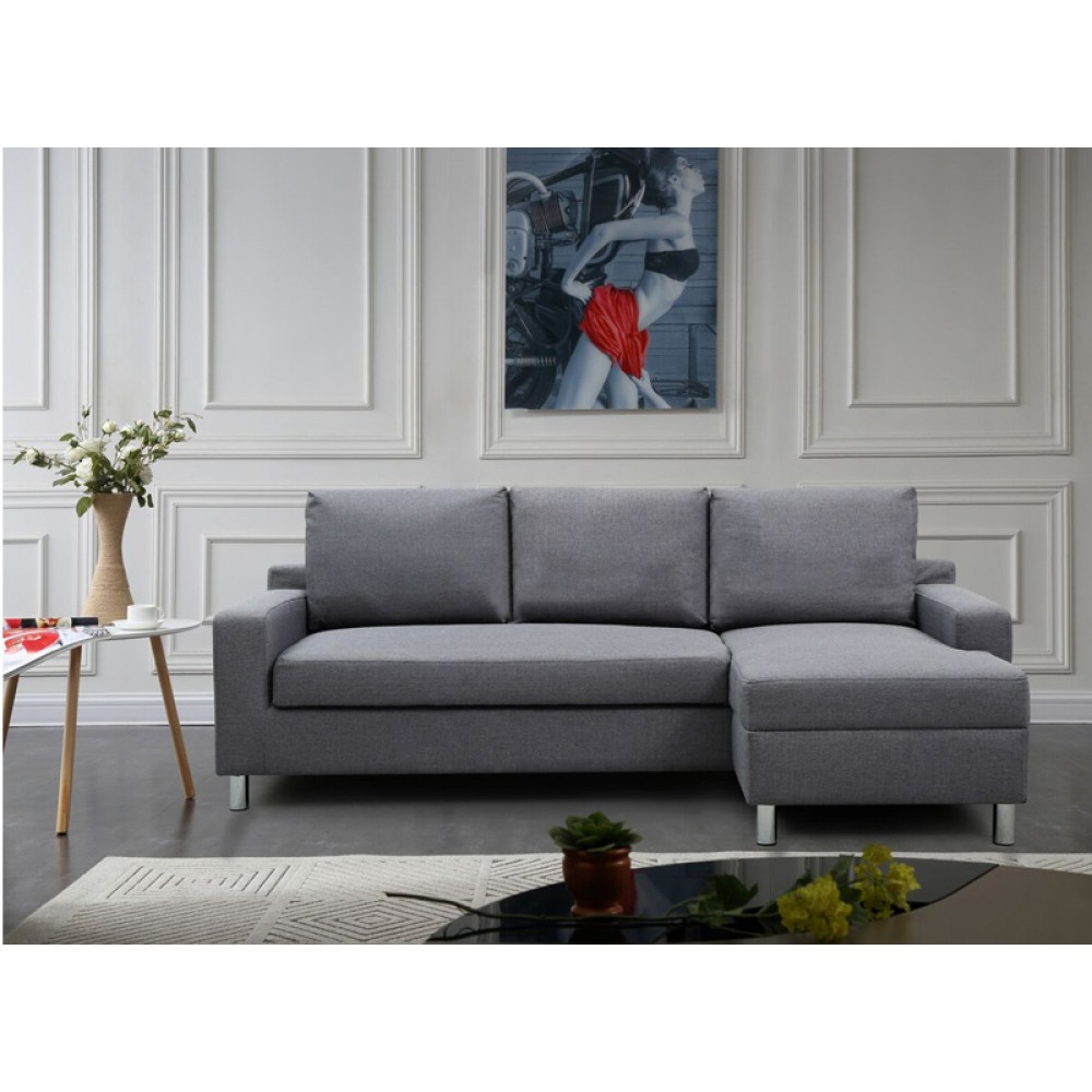 Wondrous Linen Fabric Sectional Sofa With Bed Right Side Facing Dark Beatyapartments Chair Design Images Beatyapartmentscom