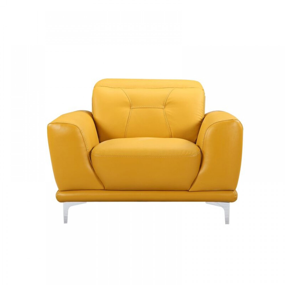 "Air Leather Fabric Chair,43*40.55*31.5-36.7""H, Yellow Color"