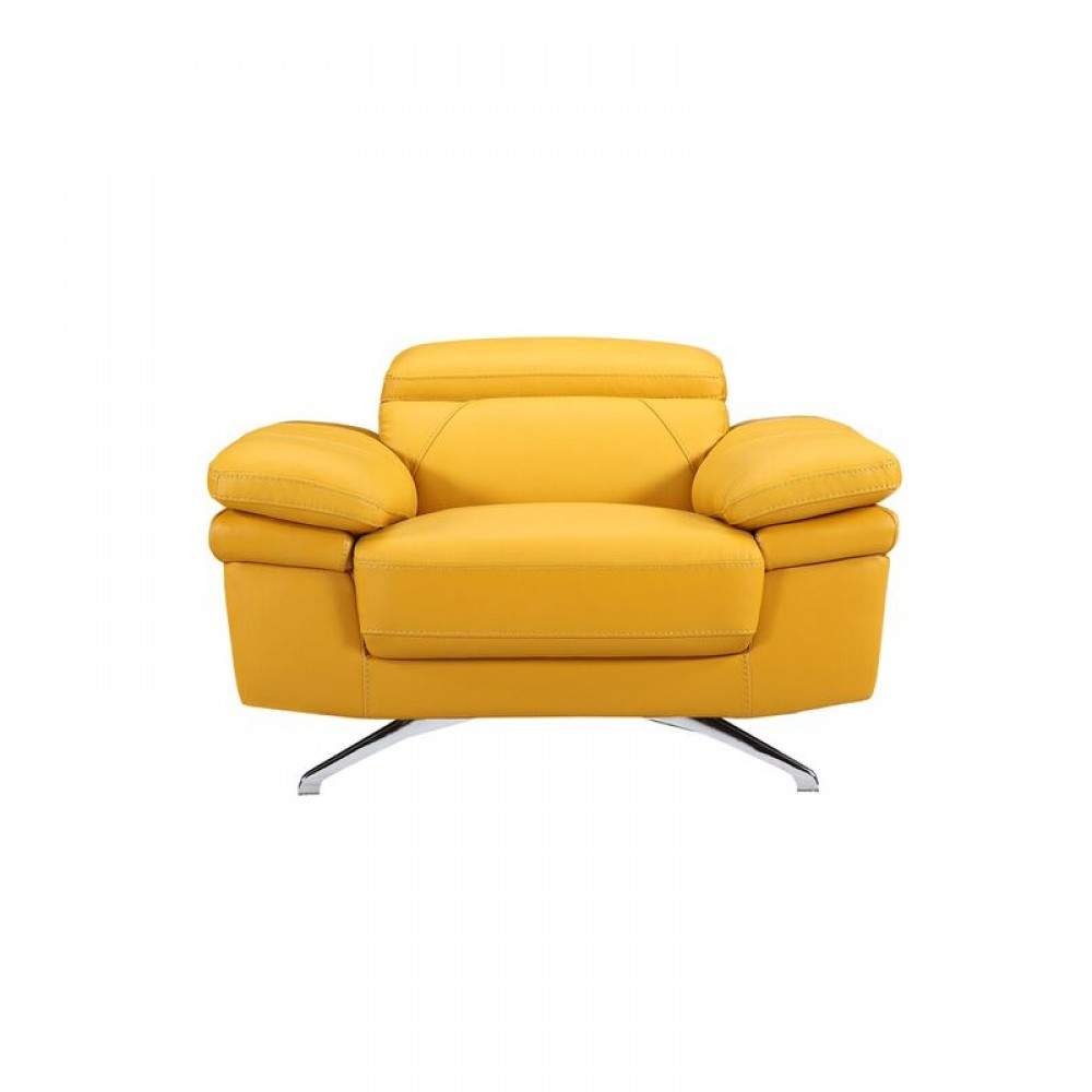 """Air Leather Fabric Chair, 45.7*40.55*28.5-35.5""""H, Yellow Color"""