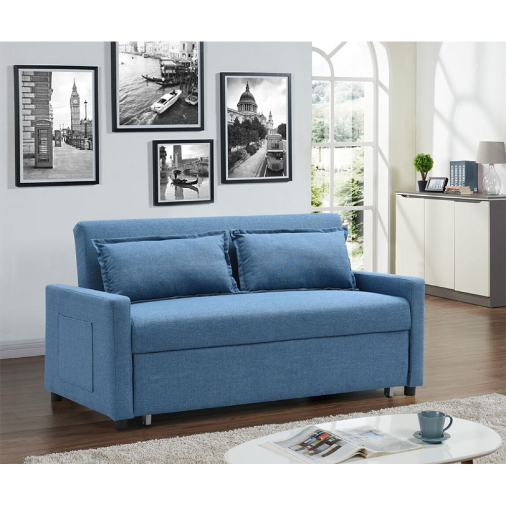 Love Seat Linen Fabric Dark Blue Color With Pull Out Bed