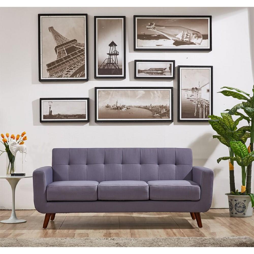 Enjoyable Modern Style Linen Fabric Love Seat With Wood Legs Cushions Inzonedesignstudio Interior Chair Design Inzonedesignstudiocom